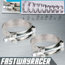 2X 2.0'' Stainless Steel T-Bolt Clamp Turbo Intake 2'' ID 57MM-65MM Silicone 2.0