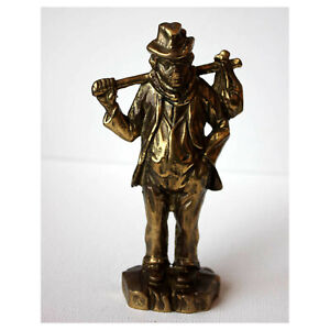 Wanderer Figur Mann 795g Messing massiv Skulptur Statue vintage