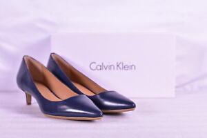 Women's Calvin Klein Gabrianna Kidskin Pointed Toe Heel Pumps, Navy Blue