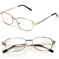 Fashion Bifocal Lens Rimmed Men's Reading Glasses Gold Metal Frame Eyeglasses