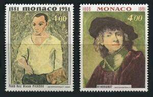 Monaco: 1981 Picasso, Rembrandt Self Portraits (1307-1308) Mint