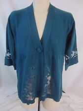 Susan Graver Style Green Blue Cardigan One Snap Sweater Womens Small CB16D
