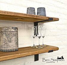 Rustic Shelf Industrial Handmade Shelves Metal Bracket Solid Wood 15cm DeepTLB15