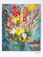 MARC CHAGALL Original Bouquet Litho Print Facsimile Signed & COA