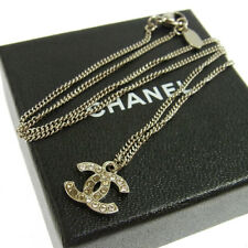 Auth CHANEL Vintage CC Logos Silver Chain Rhinestone Pendant Necklace V04712