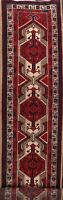 Geometric Semi Antique Tribal Ardebil Long Runner Rug Hand-knotted Wool 4x15 ft