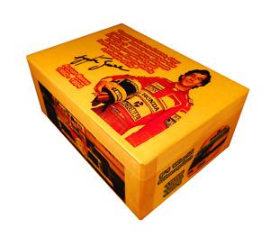 Ayrton Senna figure signed, McLaren Honda, helmet, F1 World Champion gift box GP