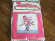 """1976 Naturally Crewel Kit Crewel Pillow/ Picture ANEMONES in Vase 14""""x14""""~~NIP!!"""