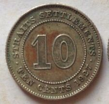 Straits Settlements 10 cents 1927 coin (A)