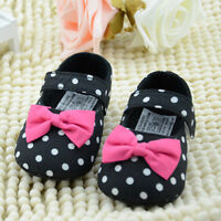 Infant Toddler Baby Boy Girl Soft Sole Crib Shoes Bowknot Newborn 0 to 18 Months