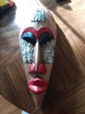 Hand Carved  Tiki Totem Wood  Hanging  Wall Art  Mask Decor with tin cheeks