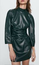 NEW Collection ZARA Draped Faux Leather Dress 2969/058 (size S)