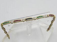 10k Yellow Gold Round Red Ruby Blue Sapphire Green Emerald Diamond CHIP Bracelet