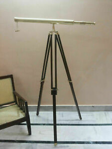 TELESCOPE 39 Inch Spyglass Brass Nautical Single Barrel With Wooden Tripod Stand