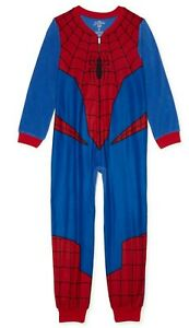 NWT Spiderman Pajamas Size 4-5 Boys One Piece Blanket Sleeper Marvel Costume