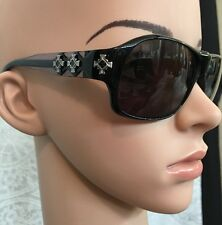 Loree Rodkin Elton Sunglasses Dark Lenses With Silver And Enamel Design On Side