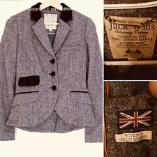 Jack Wills MOON British Tweed Wool UK 14 Riding Jacket Blazer Country Fitted