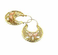 Real 10K Tri Color Gold Filigree Basket Hoop Earrings, Height 43mm, Width 31mm