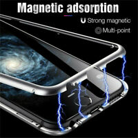For Samsung S20 Note20 Ultra S10 Plus Magnetic Metal + Tempered Glass Case Cover