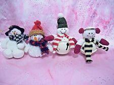 *Super Rare Vtg Lot 4 Christmas Snowman Kids 2 Sets of Ornaments for Xmas Tree