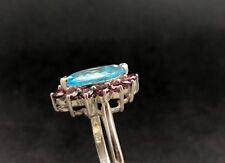 BLUE TPOAZ & RHODOLITE GARNET RING in .925 STERLING SILVER Size 10 FREE SHIPPING