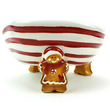 Cracker Barrel Christmas Gingerbread Peppermint Candy Dish Bowl Holiday