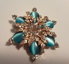 Beautiful blue cabochon clear rhinestone brooch with silver leaflets. Looks new.