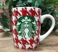 Starbucks Coffee Mug Tea Cup White with Houndstooth Pattern Mermaid