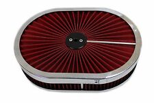 "12"" x 2"" Chrome Aluminum Washable Top Lid Air Cleaner Oval Hot Street Rod"
