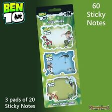 Ben 10 Sticky Notes - 3 x 20 Page Pads with Ben 10 Designs - New