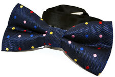 Adjustable 2 Layer Blue Pre Tied Men Bow Tie Multicolor Polka Dot Men Bowtie