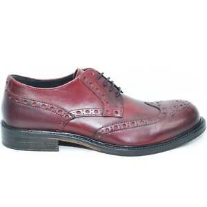 Scarpe stringate pelle stile vintage fondo cuoio antiscivolo bordeaux spazzolato