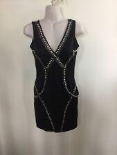 NEW! BEBE FASHIONS MINI DRESS BLACK/SILVER SIZE SMALL SM BODY CON SHORT DRESS