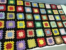 "Handmade Granny Square Afghan Black Red Yellow 29.5""x 63"" Vintage"