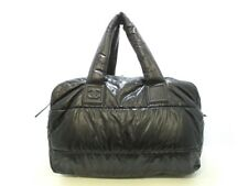 Auth CHANEL Coco Cocoon A47096 Black Nylon Boston Bag