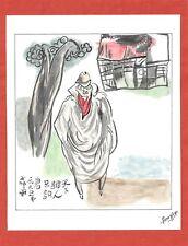 Dessin encre de chine & aquarelle Japon Hand made china ink signé Geneviève n7
