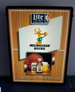 Miller lite beer Milwaukee bucks NBA basketball deer light up bar sign champs