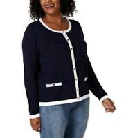 Karen Scott Women's XLarge Tipped Button-Down Cardigan Sweater Navy Blue New #17