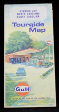 1969 GULF Gasoline Road Map of GEORGIA, NORTH CAROLINA, SOUTH CAROLINA