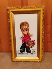 """Mid Century Big Eyes Style Oil Painting Of Flower Girl Waif  20 X 13"""" Framed"""