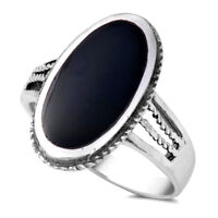 USA Seller Oval Ring Sterling Silver 925 Best Deal Jewelry Black Onyx Size 7