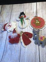 Vintage Christmas Ornaments.  Donkey, Santa Face, Teddy Bear
