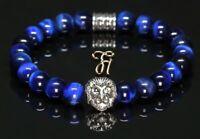 Tigerauge blau - silberfarbener Löwenkopf - Armband Bracelet Perlenarmband 8mm