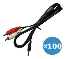 100 3 ft RCA Stereo Audio Input Cables - Red and White to Single 3.5mm Aux Cord