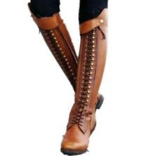 Women Knight Rivet Spike Ridding Boots Knee High Cuban Heels Retro Oxford Shoe D