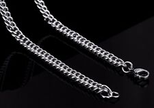 """18"""" 4mm Stainless Steel Curb Chain Necklace Silver Tone for Pendant 4 mm STCR4S"""