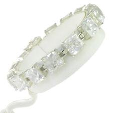 6.5 in - 925 Sterling Silver Princess Cut Clear Cubic Zirconia Tennis Bracelet