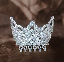 Mini Tiaras w/ Hair Combs Rhinestone Wedding Crowns for Child Flower Girl Party
