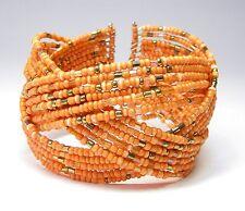 Neu ARMREIF 18-Reihig PERLEN orange ARMREIFEN Perlenarmband ARMBAND Armspange