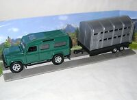 NEW 4X4 GREEN LAND ROVER CAR WITH SILVER LIVESTOCK TRAILER 1:43 SCALE TEAMSTERS